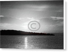 Load image into Gallery viewer, Sunrise Behind The Island In Black And White - Canvas Print