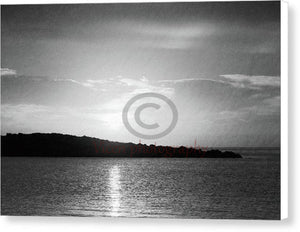 Sunrise Behind The Island In Black And White - Canvas Print