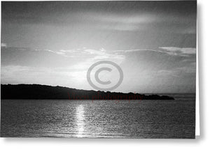 Sunrise Behind The Island In Black And White - Greeting Card