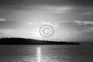 Sunrise Behind The Island In Black And White - Art Print