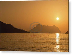 Sunrise On A Beach In Aguilas Murcia - Acrylic Print 10.000 X 6.500 / Hanging Wire