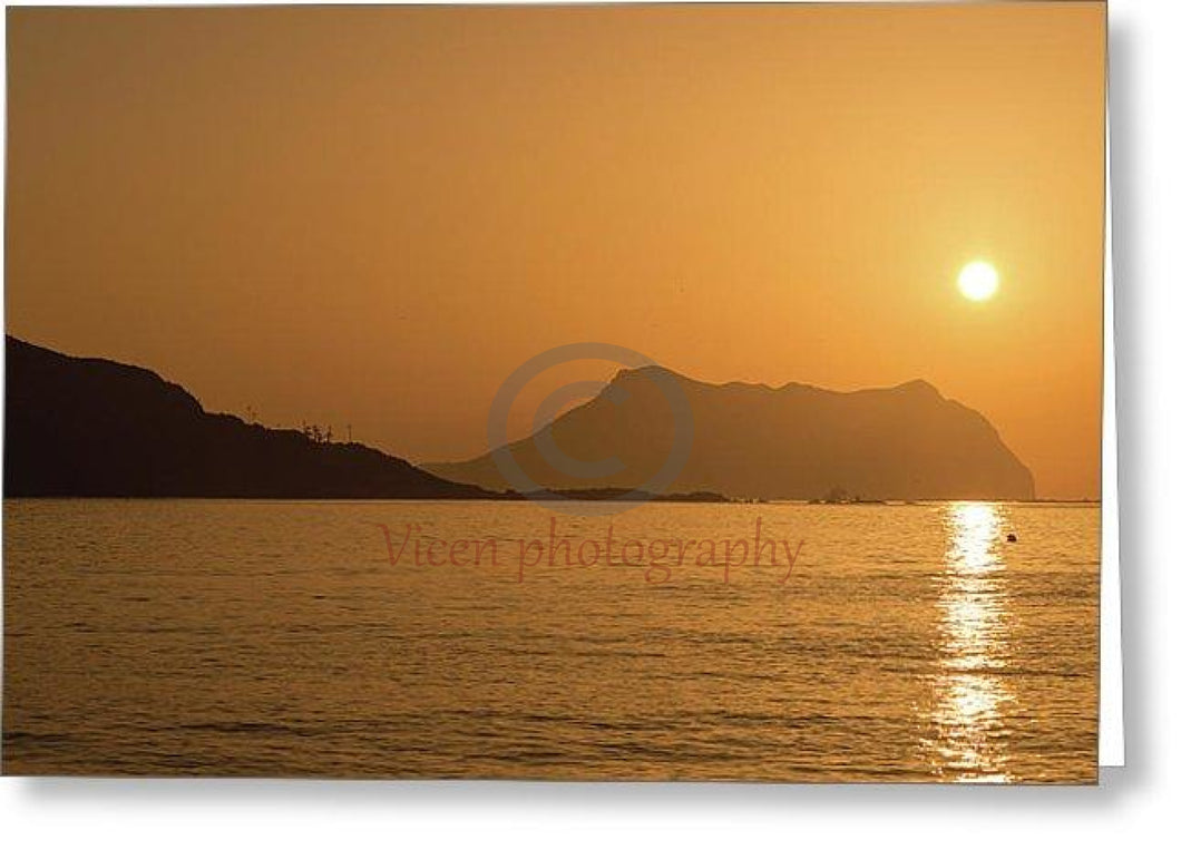 Sunrise On A Beach In Aguilas Murcia - Greeting Card Single