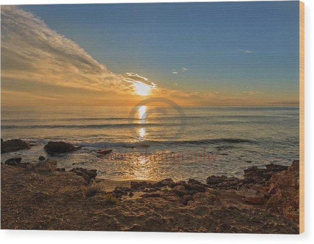 The Calm Sea In A Very Cloudy Sunset - Wood Print 10.000 X 6.625
