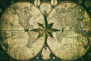 The Compass Rose And An Old Map - Art Print 8.000 X 5.375 / Archival Matte Paper