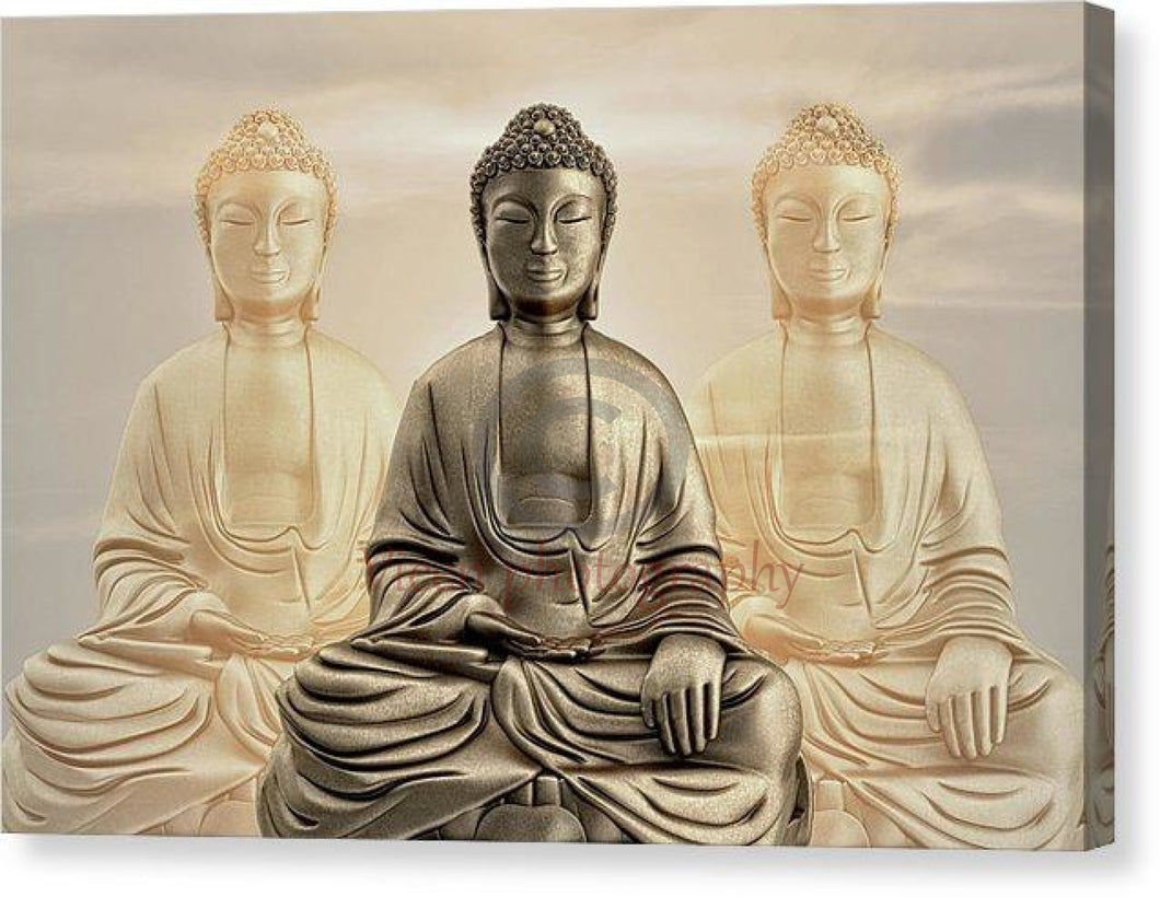 Three Buddhas With A Sunset Sky - Canvas Print