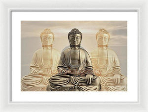 Three Buddhas With A Sunset Sky - Framed Print