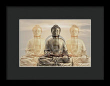 Load image into Gallery viewer, Three Buddhas With A Sunset Sky - Framed Print