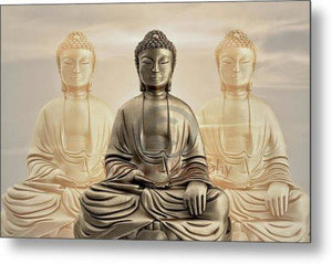 Three Buddhas With A Sunset Sky - Metal Print
