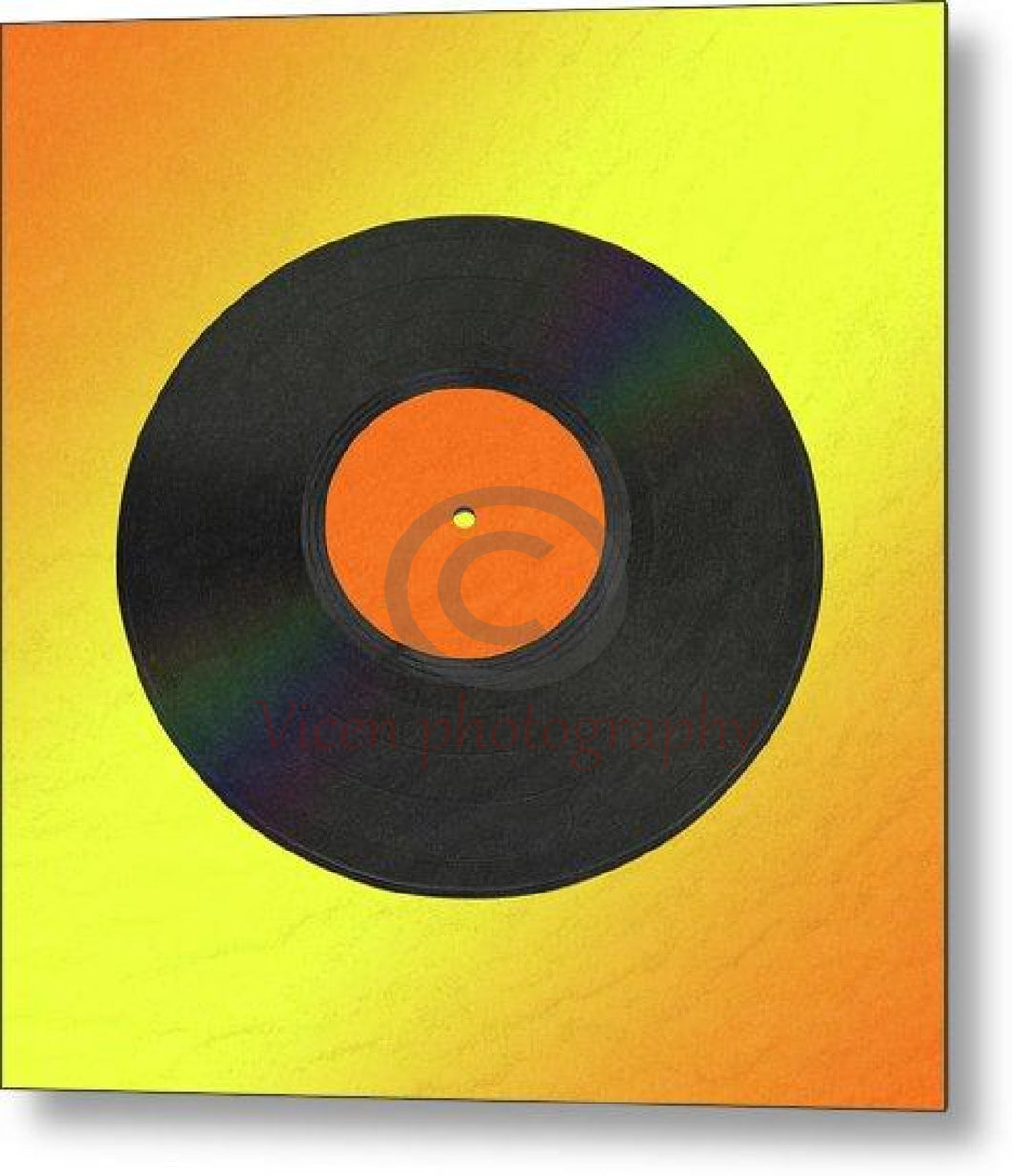Vinyl Record With A Yellow And Orange Background - Metal Print 8.000 X