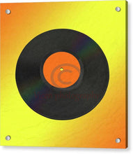 Load image into Gallery viewer, Vinyl Record With A Yellow And Orange Background - Acrylic Print 8.000 X / Aluminum Mounting Posts