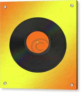 Vinyl Record With A Yellow And Orange Background - Acrylic Print 8.000 X / Aluminum Mounting Posts