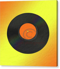 Load image into Gallery viewer, Vinyl Record With A Yellow And Orange Background - Acrylic Print 8.000 X / Hanging Wire