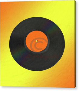 Vinyl Record With A Yellow And Orange Background - Acrylic Print 8.000 X / Hanging Wire