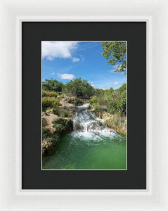 Waterfall In The Ruidera Lagoon, Castilla La Mancha - Framed Print