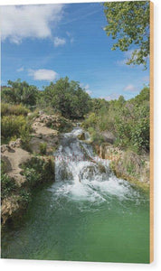 Waterfall In The Ruidera Lagoon, Castilla La Mancha - Wood Print