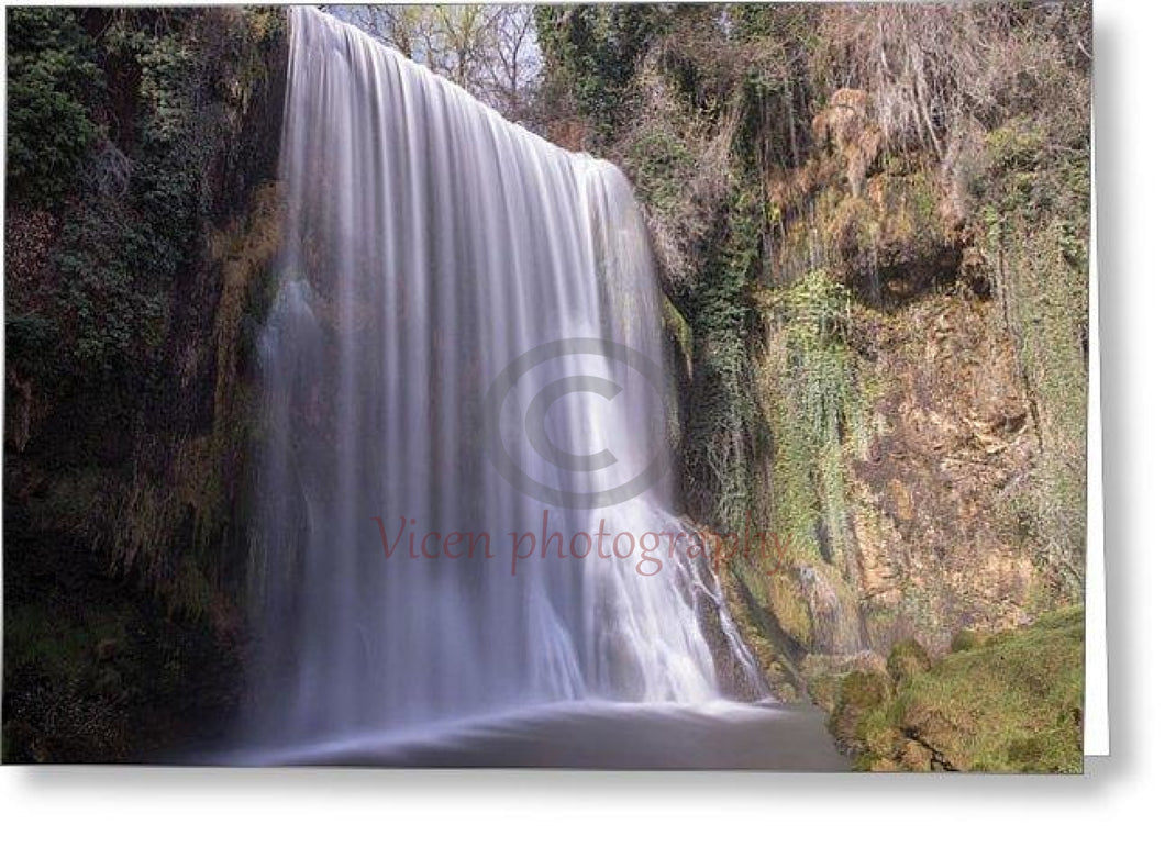 Waterfall In The Monasterio De Piedra Of Aragon - Greeting Card Single