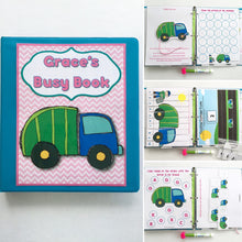 Girly Garbage Truck Busy Book, Quiet Book, Dry Erase  Activity Book, Toddler Learning Book, Educational Toy, age 2-4, personalized, hands on