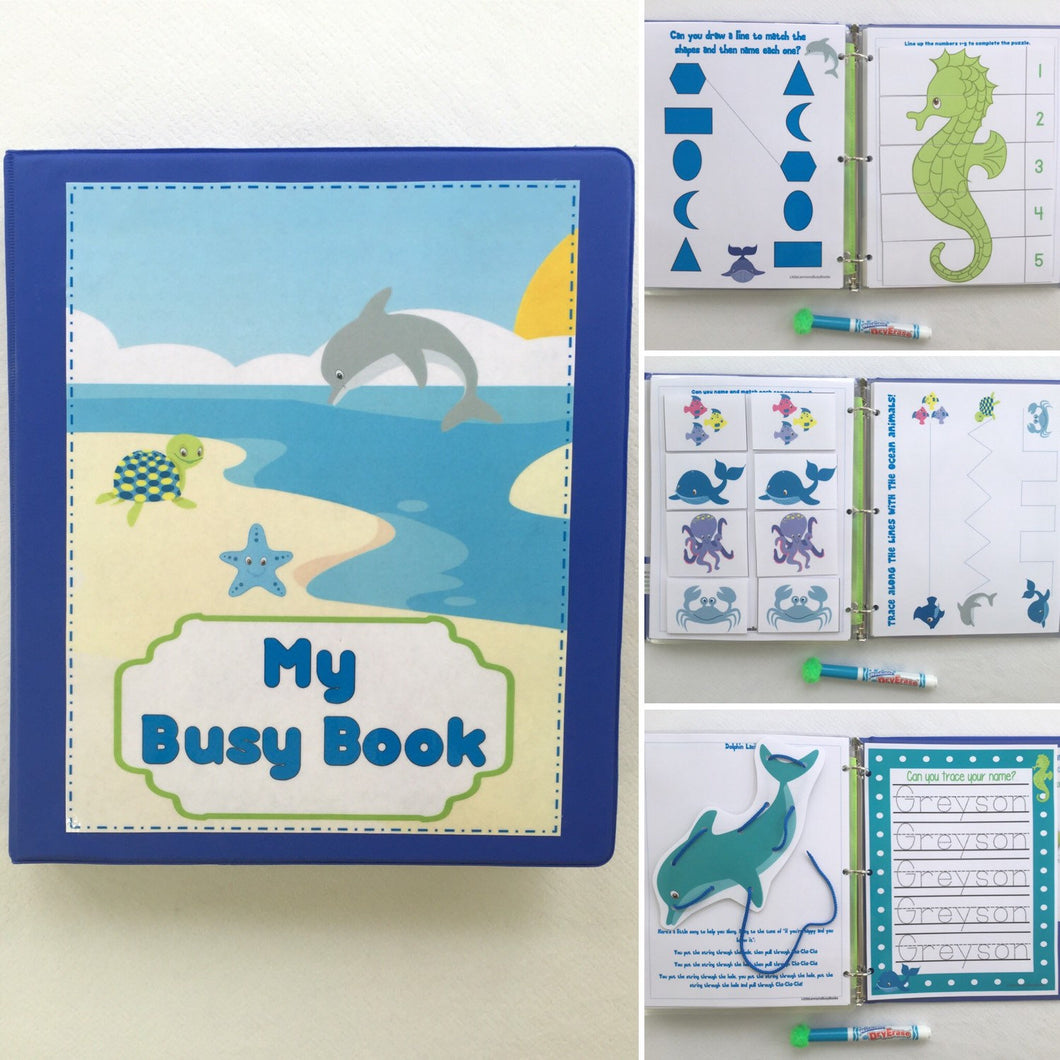 Under the Sea Busy Book/Quiet Book, Customize by skill level for any age, Dry Erase  workbook, activities for preschool, toddler games