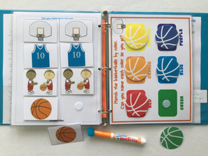 Basketball Toddler Dry Erase  Activity Book, Personalized Busy Book, Quiet Book, Busy Bag, Educational Toy, ages 1-3, travel games