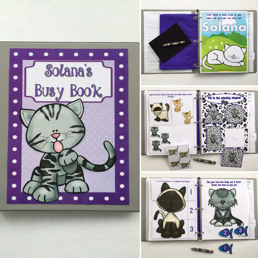 Kitty Cat Toddler Dry Erase  Activity Book, Personalized Busy Book, Quiet Book, Busy Bag, Educational Toy, learning binder, travel toy