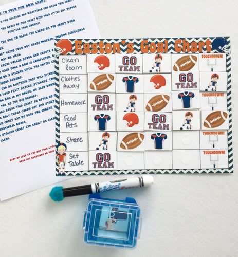 Dry Erase Football Goal Chart, personalized, blank, FULLY ASSEMBLED, chore chart, Reward Chart, behavioral chart, goal chart, reward system