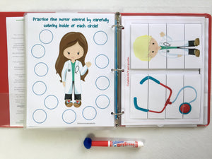 Doctor PreK Dry Erase  Activity Book, Personalized, Busy Book, Quiet Book, Busy Bags, learning, binder, custom, travel activities, hands on