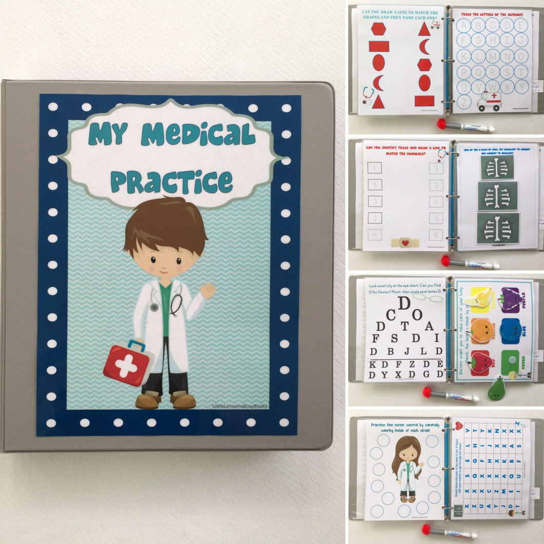 Doctor themed Group & Family Busy Book/ Quiet Book/ Customized/ family gift/ Educational Toy/ Travel games/ preschool/ family games/ kids