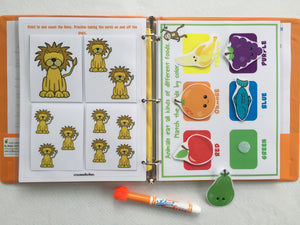 Jungle Toddler Dry Erase  Activity Book, Personalized Busy Book, Quiet Book, Busy Bag, Educational Toy, age 1 to 4 years, travel games
