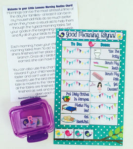 Morning Routine Chart, personalized, FULLY ASSEMBLED, Reward Chart, behavior chart, kids charts, bird chart,  reusable chart, laminated