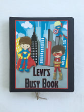 Superhero Personalized Busy Book, Quiet Book, Dry Erase  activity book, ages 4.5-6, Pre-reading, math practice, PreK, Kindergarten, hands on