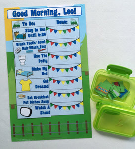 Morning Routine Chart, personalized, FULLY ASSEMBLED, Reward Chart, behavior chart, kids charts, train themed chart, laminated, reusable