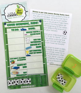 Morning Routine Chart, personalized, FULLY ASSEMBLED, Reward Chart, behavior chart, kids charts, soccer themed,  reusable chart, laminated