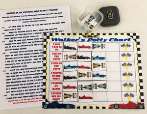 Potty Chart, personalized, FULLY ASSEMBLED, Race cars theme, Reward Chart, premade chart, potty, visual aid, hook and loop
