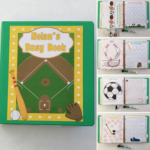 Sports PreK Dry Erase  Activity Book, Personalized Busy Book, Quiet Book, interactive book, Educational Toy, gift for boy, travel game