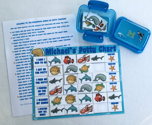 Ocean Animals Potty Chart, personalized, FULLY ASSEMBLED, Reward Chart, laminated, sea life, sea creatures, goal chart, potty training, boys