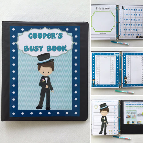 Ring Bearer Dry Erase  Activity Book, Personalized Busy Book, Quiet Book, Ring Bearer Gift, ages 1-6 years, wedding activity book