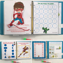 Superhero Personalized Busy Book, Quiet Book, Dry Erase  activity book, preschool toy, educational, reusable book, busy bags, gifts