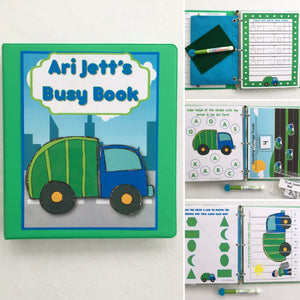 Garbage Truck Busy Book, Quiet Book, Dry Erase  Activity Book, Toddler Learning Book, Educational Toy, Teacher Made, age 2-4, Busy Bag