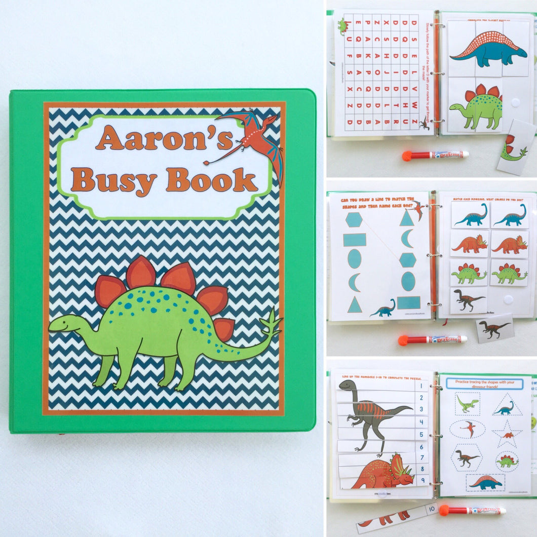 Dinosaur Personalized Busy Book, Quiet Book, Dry Erase/ activities, Preschool, Educational Toy, reusable activity book, travel, learn