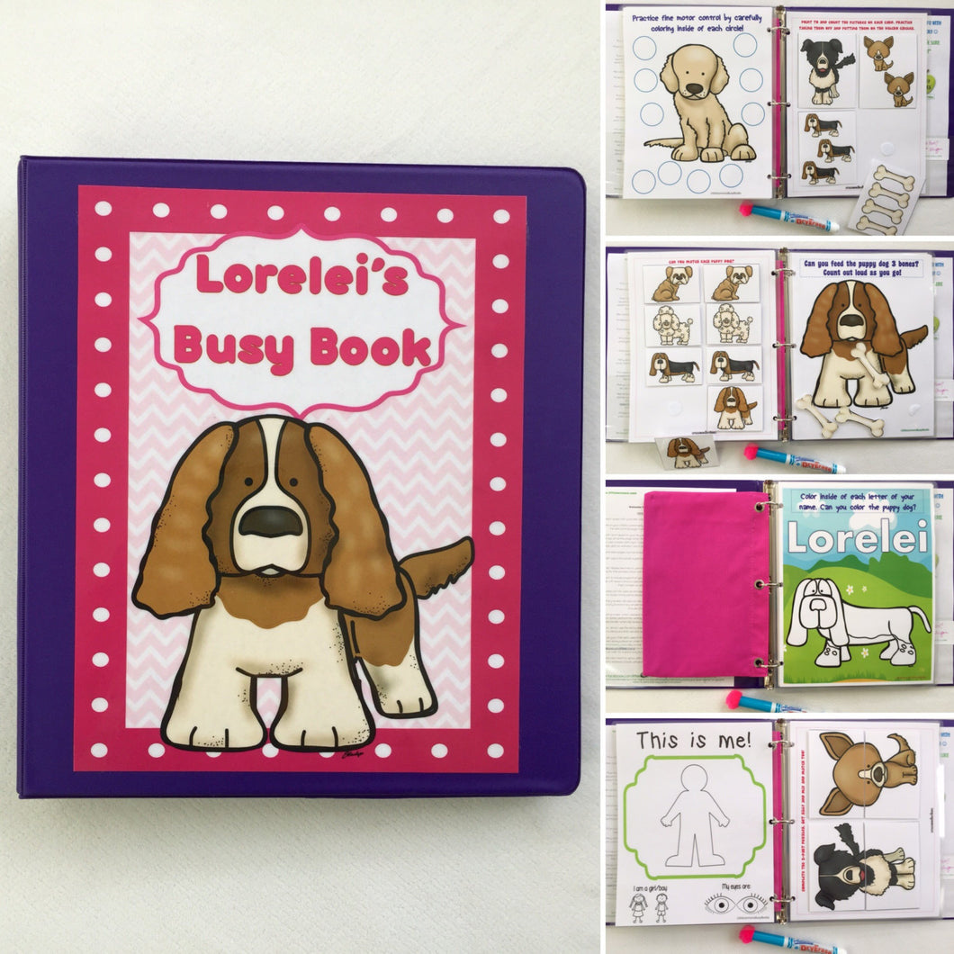 Puppy Dog-themed Personalized Busy Book, Quiet Book, Preschool Dry Erase Activity book, Educational Toy, Unique Gift, Traveling Game,