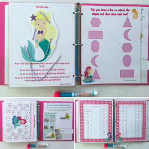 Mermaid Dry Erase Activity Book/ Busy Book/ Quiet Book/Binder/ Educational Toy/ Custom Made/ Unique Gift for Children/ Preschool/ Learning