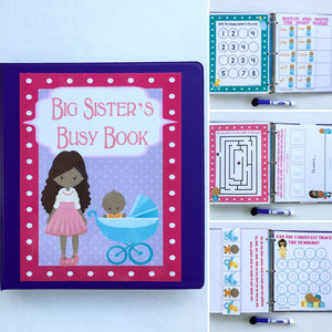 Big Sister Busy Book, african american, quiet book, dry erase activity book, prek, kindergarten, unique big sister gift, custom, dark skin