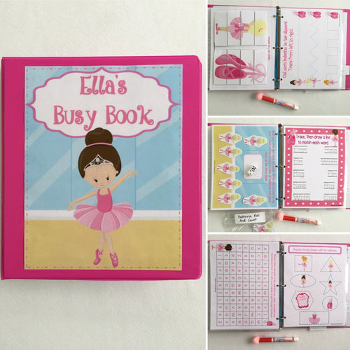 Ballet PreK Personalized Busy Book, Quiet Book, Dry Erase/ activities, Preschool, Educational Toy, busy bags, reusable activity book