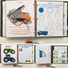 Trucks, Trains, Tractors Personalized Busy Book, Dry Erase Activity book, Customized by age, Educational toy, travel games, busy bag, kids