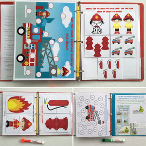 Fire and Rescue personalized Busy Book/Quiet Book, dry-erase  activity book, travel games, educational, gift for boy, fire trucks