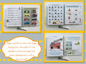 Trucks Personalized Busy Book, Dry Erase Activity book, Preschool, Educational toy, travel games, busy bag, kids, unique gift, fire truck