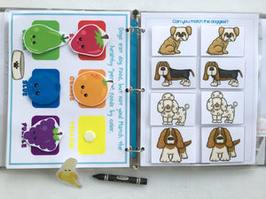 Puppy Dog-themed Personalized Busy Book, Quiet Book, Toddler Dry Erase Activity book, Educational Toy, Unique Gift, Traveling Game,
