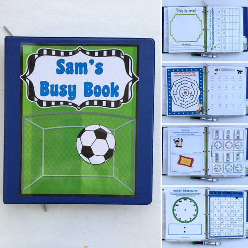 Soccer, karate, basketball themed Kindergarten dry erase  activity book, quiet book, busy book, reusable, personalized book, travel