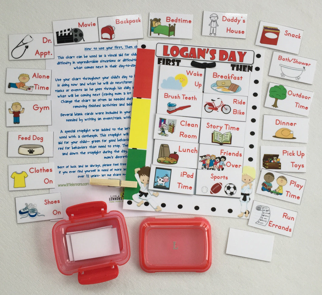 Karate themed First, Then Chart, Daily schedule chart, customized task cards, laminated chart, visual schedule, stoplight behavioral chart
