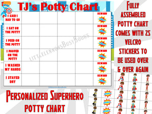 Superhero Potty Chart* personalized* FULLY ASSEMBLED*toilet training*Reward Chart*sticker chart*potty chart*30 reusable stickers*laminated